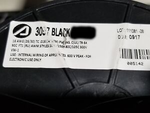 Alpha Wire 3057 16awg Tinned Copper Hook Up Wire 300v 105c Mtw Tew Black 100ft