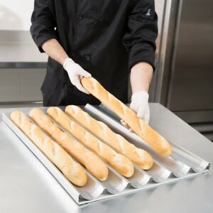 6 Loaf Baguette Baking Pan Restaurant Bakery Kitchen Aluminium French Bread Pan