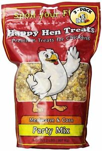 Happy Hen Treats Party Mix Mealworm And Corn 2 pound Pack Of 3