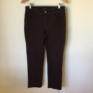 Lee Classic Fit Womens Size 8 Petite Dark Brown Straight Denim Jeans :0d