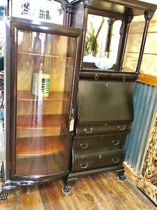 Antique Black Wood Secretary And Bookshelf
