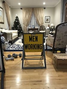 Vintage Men Working 2 Sided Foldable Metal Sign Very Heavy