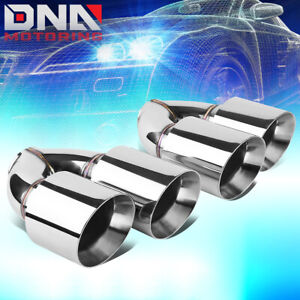 Pair Stainless Steel Dual Exit Exhaust Muffler Tips Universal Fit 2 5 Piping