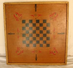 Antique Vintage Double Sided Wood Game Board Checkerboard Marbles Primitive