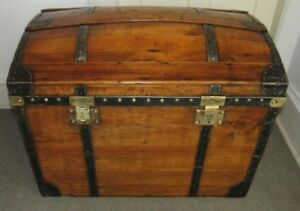 Antique Steamer Trunk Vintage French High Rise Dome Top Wedding Brides Chest