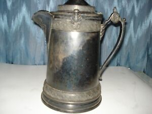 Antique Reed Barton Pitcher Silverplated With Ceramic Liner For Hot Or Cold