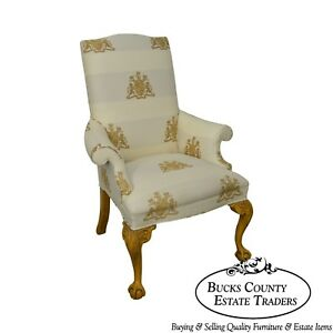Thomasville Custom Lion Coat Of Arms Upholstered Ball Claw Wing Chair