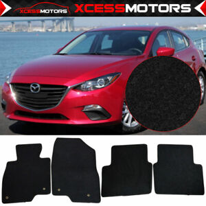Fits 14 18 Mazda 3 Floor Mats Carpet Front Rear Black 4pc Set Nylon
