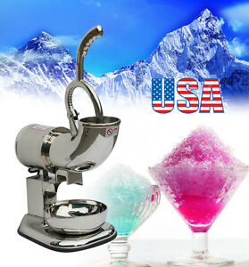 Usa 200w Ice Shaver Machine Snow Cone Maker Shaved Ice Electric Crusher 180kgs h