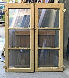 Vintage Glass Cabinet Doors Shutters Windows Architectural Salvage 34 X 40