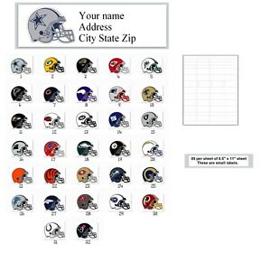 80 Small Personalized Address Labels Football Helmuts Buy 3 Get 1 Free pc 107