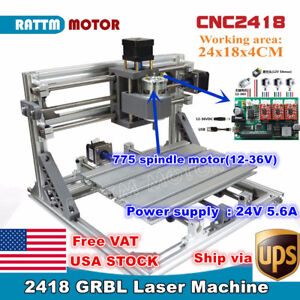 usa 3 Axis 2418 Diy Mini Cnc Laser Machine Grbl Control Pcb Milling Wood Router