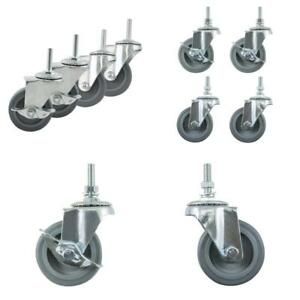 Caster Wheels Casters Set Of 4 3 Inch Heavy Duty Threaded Stem Industrial