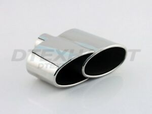 Trends Dt 25127 L R Dual Oval Roll Edge Stainless Exhaust Tip 2 5 Inlet 7 5 L