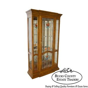 Oak Leaded Stained Glass Curio Display Cabinet