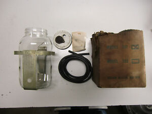 Nos 1950s Vintage Windshield Wiper Washer Jar Glass Bottle Fluid Pump Accessory