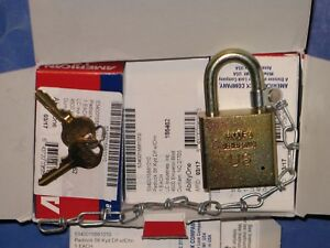 American Lock Skilcraft Solid Steel Case Padlocks W chain 5881010 6pcs