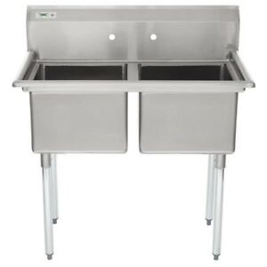 New 41 2 Compartment Stainless Steel Commercial Sink Without Drainboards New