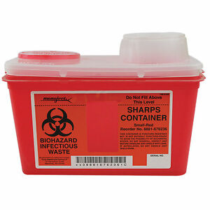Medical Supplies Sharps Container Chimney top Red