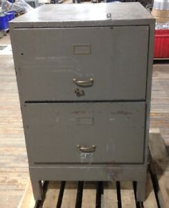 Vintage Fireproof 2 Drawer Door Industrial File Cabinet Safe Metal Storage Used