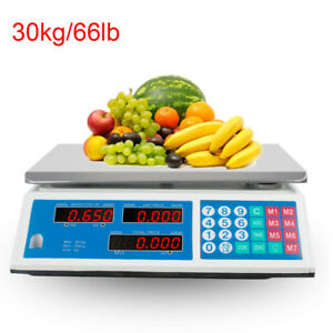 Digital Weight Scale 66lb Price Computing Food Meat Scale Produce Deli Indutrial