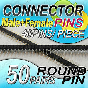 50 Black Single Row 40 Pin 2 54 Mm Pitch Header Strip Led Pcb Round Male Female