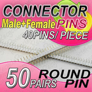 50 White Single Row 40 Pin 2 54 Mm Pitch Header Strip Led Pcb Round Male Female