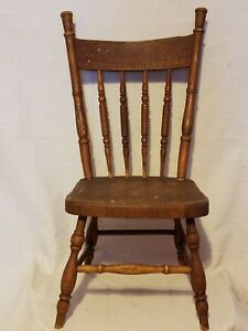 Antique Childrens Oak Press Back Chair 1 Of 2