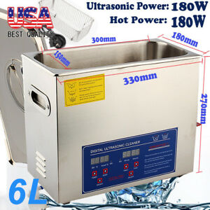 New 6l Ultrasonic Cleaner Stainless Steel Industry Heater W timer For Jewelry Us