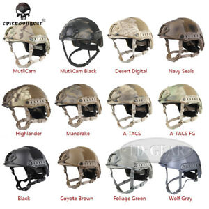 EMERSON Tacitcal FAST Helmet MH Type wNVG Shroud+Side Rail Wargame Hunting Gear