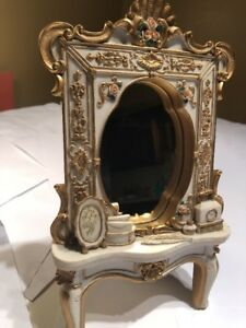 Small Desk Top Maple Antique Style Mirror Antique Carved Style