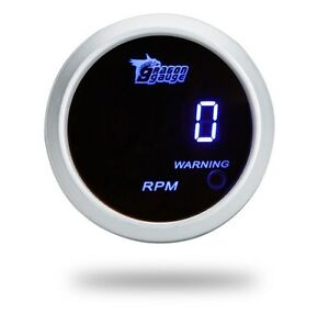 White Face 2 Inch 52mm Blue Led Digital Car Motor Tacho Tachometer Gauge Meter