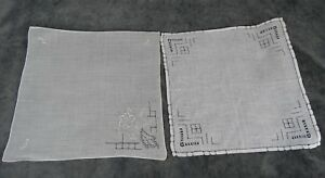 Antique Swiss Appenzell Bridal Two Hankerchief Embroidered Linen N 4