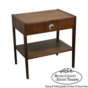 Danish Modern Style Mid Century 1 Drawer Walnut Nightstand