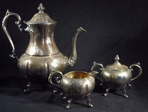 Antique 4 Piece Sheridan Silver Tea Coffee Service Set Silver On Copper