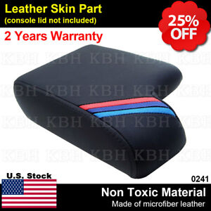 Leather Armrest Console Lid Cover For Bmw E36 3 Series 1992 1999 Black M Stripes