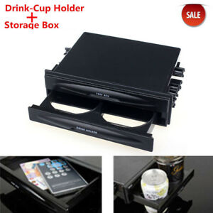 Universal Car Auto Double Din Radio Black Pocket Drink Cup Holder Storage Box