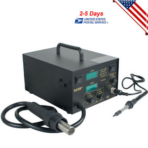 852d 2in1 Hot Air Gun Electric Rework Smd Soldering Station Iron Led Digital Us
