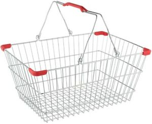 Chrome Grocery Shopping Basket Convenience Store Sturdy Metal Baskets 12 Pack