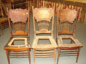 3 Antique Pressed Back Chairs W Wide Backs Hole Cane Old Finish Restoration