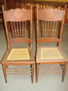 2 Antique Pressed Back Chairs Pretty Press Hole Cane Old Finish Restoration