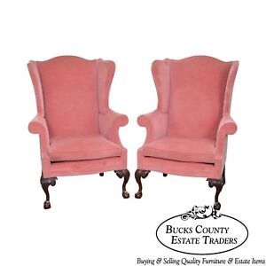 Southwood Chippendale Style Pair Of Mahogany Ball Claw Wing Chairs