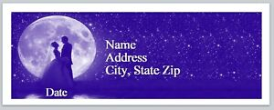 30 Personalized Address Labels Wedding Couple Full Moon Buy3 Get1 Free p 290
