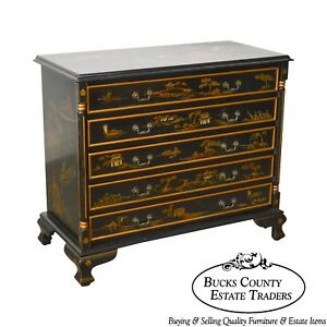Chinoiserie Hand Painted Chippendale Style Chest Of Drawers