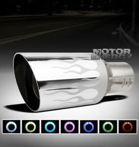 Universal 4 7 Color Led Exhaust Muffler Tip Fire Flame Kit Dodge Eagle Ford Gmc