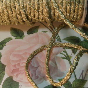 Antique Vtg Thick Gold Metallic Rope Cord Braid Trim Ribbon Pillow Lamps 3 8