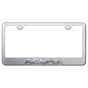 Licensed Brushed Stainless Steel License Plate Frame W chrome Acura Augd3856