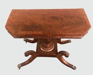 19th C Antique Classical Mahogany Game Card Table Console Philadelphia