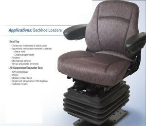 Air Suspension Seat Case Backhoe Loader Charcoal Gray Cloth