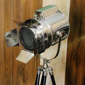 Designer Nautical Floor Lamp Wooden Spot Search Light With Black Tripod Stand